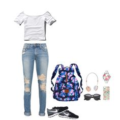 Back to School by riyakolambkar on Polyvore featuring Abercrombie & Fitch, NIKE, Victoria's Secret, Betsey Johnson and Frends