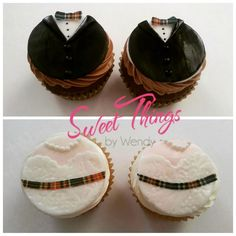 Wedding cupcakes with plaid details   sweetthingsbywendy.ca Wedding Cupcakes, Plaid, Desserts, Food, Gingham, Tailgate Desserts, Deserts, Meals, Dessert