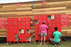 State Farm: Outside the State Farm lounge were free lockers for people to place items for safekeeping. Additionally, the insurance company encouraged guest to use the hashtag for lost or found items and general help.