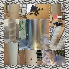 Jarrón decorativo con tubos de papel reciclados.