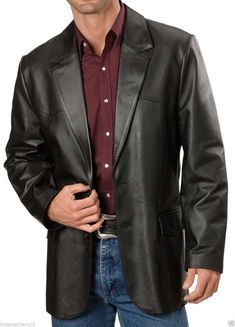 Mens Casual Real Leather Jacket Button Box Black Brown Mid Length Classic Coat