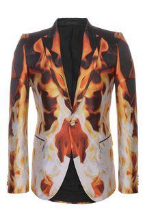 Alexander McQueen- Fire Silk Jacquard Jacket