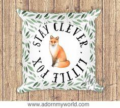 Fox Pillow, Stay Clever Little Fox, Woodland Nursery, Woodland Animal, Woodland Pillow, Fox Pillow Cover, Fox Pillow Case, Woodland Cushion