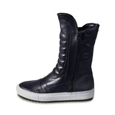 BIKER MEETS SKATER Unisex boot with typical biker padding Black calf leather Round toe Black skate double sole Zip on both sides If between two sizes, take the smaller size Calf Leather, High Top Sneakers, Biker, Fall Winter, Wedges, Unisex, Boots, Black, Fashion