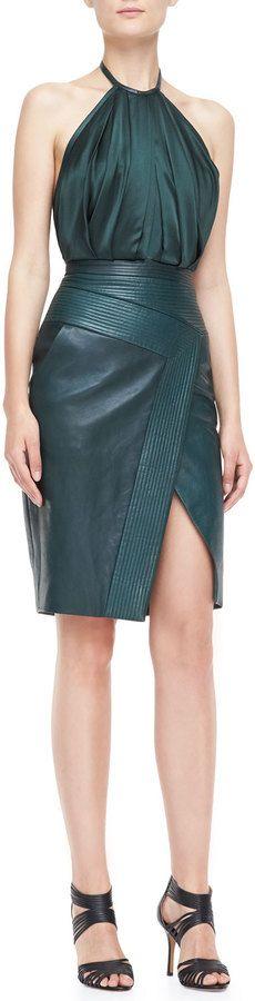 J. Mendel Halter Leather Combo Sheath Dress