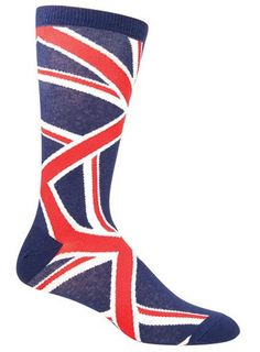 Men's Union jack crew length socks. Fits men's shoe size 8-12.5.