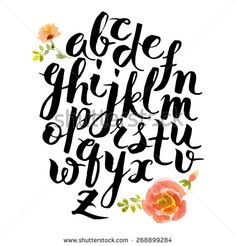 Hand drawn alphabet written with brush pen. Letters are decorated with watercolor flowers. - stock vector