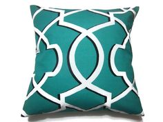 Decorative Pillow Cover Jade Green White Black Lattice Geometric Design Toss Throw Accent Cover 18x18 inch Same Fabric Front and Back x