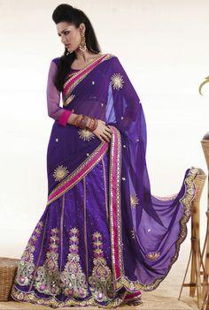 Buy Online Designer Deep Purple Lehenga Style Saree With Blouse. Buy Online Designer Lehenga Style saree at affordable cost.