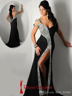 2f0d7cc4dc0 2015 Ritzee Originals Black Shining Sexy Prom Dresses Backless One-Shoulder  Evening Gowns Portrait Side-slit Sheath Crystal Long Formal Gown