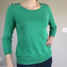 """Green Sweater 3/4 Sleeves   LOFT 100% cotton super comfortable sweater from Ann Taylor LOFT. Beautiful kelly green color with unique brass buttons on the tops of the shoulders (see photo for detail). Perfect condition. Flat measurements: 19"""" bust, 23"""" length, 20"""" sleeve length. LOFT Sweaters Crew & Scoop Necks"""
