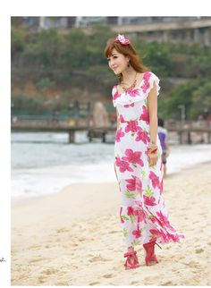 Bohemian Pink Flower Printed Wide Neckline Chiffon Maxi Dress For Women (PINK,FREE SIZE) China Wholesale - Sammydress.com