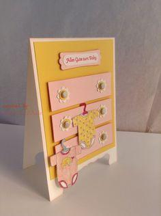 Süße Babykarte zur Geburt oder Taufe, Kommode Grußkarte, Postkarte, Klappkarte von INEZZA  -  Geschenkestübchen auf DaWanda.com