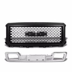 Front Upper Black+Bumper Chrome Denali Style Fence Grille For GMC 14-15 Sierra 1500