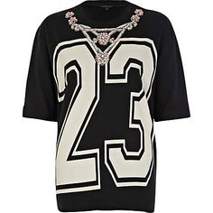 Teen Black 23 necklace embellished sweatshirt - print t-shirts / vests - t shirts / vests / sweats - women Now Magazine, Going Out Tops, T Shirt Vest, Geek Chic, Printed Sweatshirts, Summer Tops, To My Daughter, Crop Tops, Lady