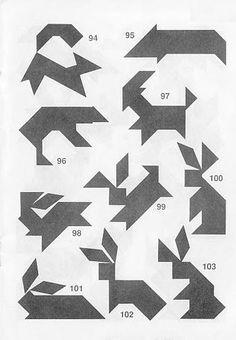 Siluetas conejos Tangram con soluciones Zentangle, Kids Outdoor Play, Logic Puzzles, Index Cards, Brain Teasers, Pictogram, Wood Toys, Geometric Designs, Pattern Blocks