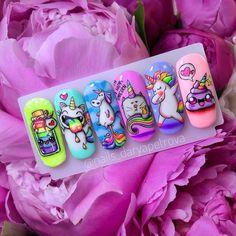 Animal Nail Designs, Nail Art Designs, Gel Nail Art, Acrylic Nails, Unicorn Nail Art, Nail Art Wheel, Fruit Nail Art, Yellow Nail Art, Nail Art For Kids