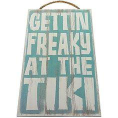 Amazing offer on Gettin Freaky The Tiki Vintage Wood Sign Tiki Bar Wall Decor Or Gift - Perfect Tiki