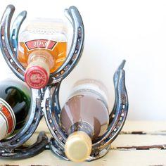 Handmade Horseshoe Wine Rack / 3 Bottle Holder by mollyannemake, $100.00