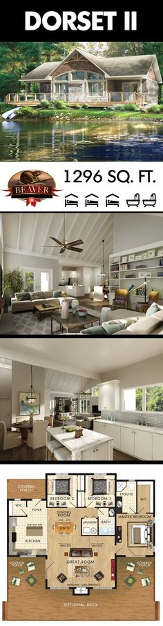 If you crave a large outdoor view then consider building the Dorset II Model. Ta… If you crave a large outdoor view then consider building. Lake House Plans, Dream House Plans, Small House Plans, House Floor Plans, Small Cottage Plans, Cottage Floor Plans, Cottage Ideas, Cottage Design, House Design