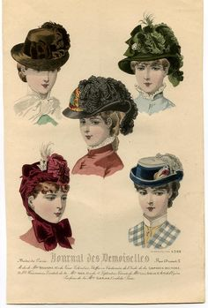 Gravure of the Journal des Demoiselles 1882 with five different images of women's hairstyles, hats and head coverings