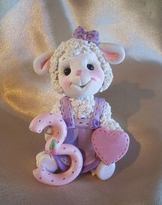*POLYMER CLAY ~ Sheep lamb birthday cake topper Christmas ornament children third 3rd birthday decoration personalized clay gift