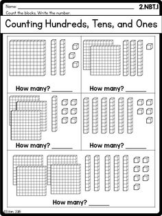 place value worksheet- hundreds tens and onesGrade Math Printables Worksheets- Numbers and Operations in Base Ten NBT Tens And Ones Worksheets, Place Value Worksheets, 2nd Grade Math Worksheets, Math Place Value, Place Values, Place Value Chart, Base Ten Blocks, Second Grade Math, Grade 2