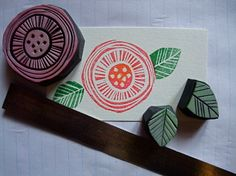 sello flor hecho a mano, flower hand carved stamp