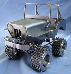 this Jeep would be great tenderizing my cube steaks.... Metal Projects, Welding Projects, Metal Crafts, Welding Ideas, Art Projects, Welding Tips, Metal Tree Wall Art, Scrap Metal Art, Metal Welding
