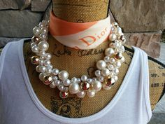 Bridal Pearl Statement Necklace, Bold Chunky Necklace,Statement Collar, Bib Necklace, Pearl Necklace