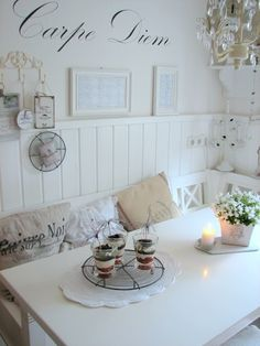Love the writing on the wall and the cozy setting for coffee and reading my Bible or a book or journaling...
