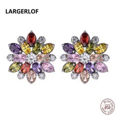 New 925 Stamped Silver Plated Jewelry Cute Cube Box Crystal Zircon Earrings For Women Earring Fashion Jewelry Brincos Bijoux Buy One Give One Earrings Jewelry & Accessories