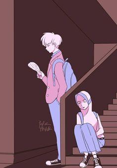 """Two characters of my webtoon """"Boy In Love"""" Menunggu Cartoon Styles, Cute Cartoon, Cartoon Art, Ramadan Photos, Floral Wallpaper Phone, Cover Wattpad, Character Art, Character Design, Islamic Cartoon"""