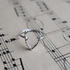 Antlers ring, silver plated deer antlers ring, Deer jewellery by Shootingnelly on Etsy