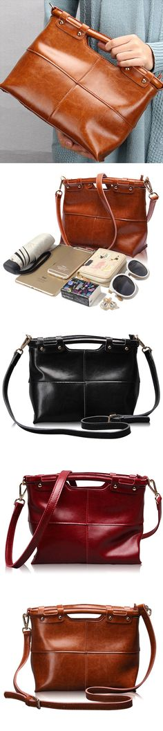 US$43.32  Ekphero Women Vintage Genuine Leather Handbag Shoulder Bags Crossbody Bags