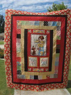 Mary Engelbreit Friends Quilt Rag Quilt, Scrappy Quilts, Mini Quilts, Baby Quilts, Halloween Quilts, Mary Engelbreit Fabric, Chicken Quilt, Neutral Quilt, Quilt Border