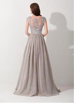 Elegant Chiffon & Tulle & Stretch Satin V-neck A-line Evening Dress with Beaded Lace Appliques