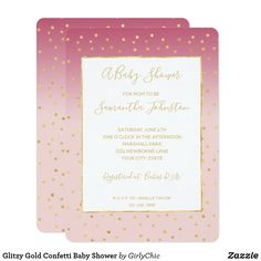 Glitzy Gold Confetti Baby Shower Card