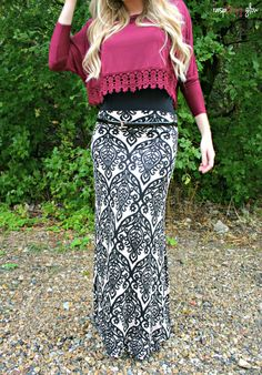 Raspberry Glow Blog featuring a demask maxi skirt from @A Whole Lotta Love Lee Boutique (www.shopllb.com).