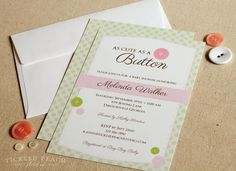 Cute As A Button Baby Shower Invitation - Baby Girl