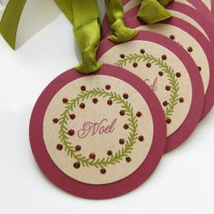 Christmas Gift Tags Noel Glitter Wreath - Set of 6 Large -  Favor Tag Holiday Packaging Gift Wrap. 5.95, via Etsy.