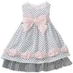 Biscotti Baby Girls' Little Darling Ribbon Dress, Black/White, 12 Months
