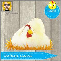 Vertelkist na aanleiding van het prentenboek Dottie's eieren! Super leuk met veel verschillende materialen! Zie blog voor alle materialen en FREE printables! Speciaal voor peuters! Eventueel aan te passen voor kleuters!