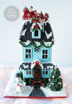 """Hi Everyone, Here's the """"The Night Before Christmas"""" themed Gingerbread house that I made for the 2014 Festival Of Trees to raise money for Detroit Children's Hospital. The house was auctioned for $500 and it also won the Gold Ribbon at the show!..."""