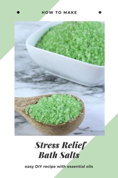 How to make stress relief bath soak with essential oils.  This uses aromatherapy and Epsom salts for a natural way to relieve stress.  This makes great gifts for coworkers and basket ideas for a care package.  This is an easy DIY essential oil craft or project that you can make in just a few minutes. Make easy homemade bath salts with essenital oils.  How to make bath salts with essential oils.  #stressrelief #essentialoils #diy #bathsalts Diy Bath Salts With Essential Oils, Spearmint Essential Oil, Diy Stress Relief Bath Salts, No Salt Recipes, Bath Recipes, Bath Salts Recipe, Lip Scrub Homemade, Bath Soak, Bath Products