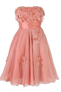 Floral Applique Strapless Chiffon Dress in Pink
