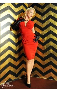 Gia Dress in Red Matte Jersey Knit - Back in Stock - Clothing   Pinup Girl Clothing