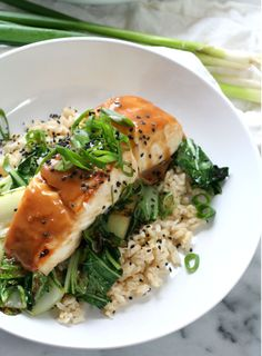 Miso Soy Glazed Halibut with Brown Rice and Bok Choy   Dash of Savory