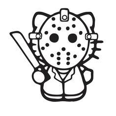 Adhesivo de vinilo Hello Kitty disfrazada de Jason, de la película Viernes 13