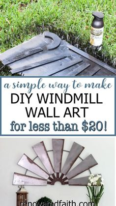 Use fan blades to make your own farmhouse style windmill wall hanging for your home or even use it as garden art on a wood porch, while staying on budget! For less than $20, this easy step-by-step tutorial will show you how to get a Fixer Upper look even Joanna Gaines would love. This post shows you how to make beautiful windmill decor by using ceiling fan blades and some other products around your home. Several ideas are included so you can customize it to your house and space needs Farmhouse Chairs, Farmhouse Furniture, Farmhouse Ideas, Farmhouse Style, Farmhouse Decor, Cheap Wall Art, Diy Wall Art, Diy Wall Decor, Windmill Ceiling Fan